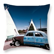 Wigwam Motel Classic Car #7 Throw Pillow