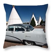 Wigwam Motel Classic Car Throw Pillow