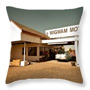 Wigwam Motel Throw Pillow