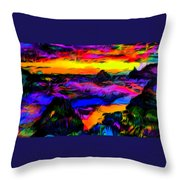 Wild And Crazy Shoreline Dusk Throw Pillow