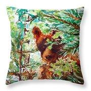 Wild Bear Peek-a-boo Watercolour Throw Pillow