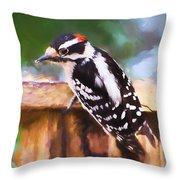 Wild Birds - Downy Woodpecker  Throw Pillow