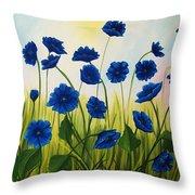 Wild Blue Poppies Throw Pillow