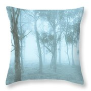 Wild Blue Woodland Throw Pillow