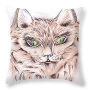 Wild- Brown Hair Cat Throw Pillow