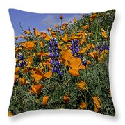 Wild California Poppies And Lupine Throw Pillow