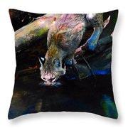 Wild Cat Drinking Throw Pillow