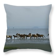 Wild Chincoteague Ponies Run Throw Pillow