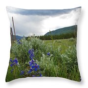 Wild Delphinium Throw Pillow
