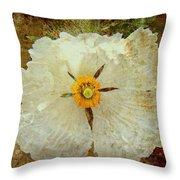 Ivory White Wildflower  Throw Pillow