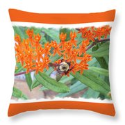 Wild Flowers And Bumble Bees Throw Pillow