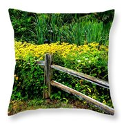 Wild Flowers And Fence Throw Pillow