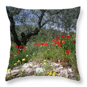 Wild Flowers And Olive Tree Throw Pillow