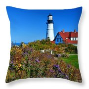 Wild Flowers Fading At The Portland Head Light Throw Pillow