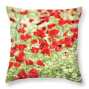 Wild Flowers Meadow Spring Scene Throw Pillow