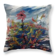 Wild Flowers On An Overcast  Day Throw Pillow