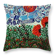 Wild Flowers Under Wild Sky Throw Pillow