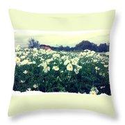 Wild Flowers White Throw Pillow