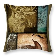 Wild Game Primitive Patchwork Throw Pillow