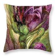 Wild Garden Tulips Throw Pillow