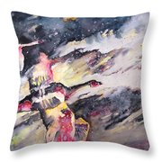 Wild Geese Flying In A Snow Storm Throw Pillow