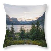 Wild Goose Island Sunset - Glacier National Park Montana Throw Pillow
