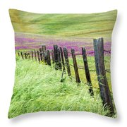 Wild Grain A Fence And Owls Clover Throw Pillow
