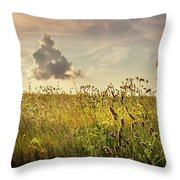 Wild Grass And A Lonely Cloud Throw Pillow