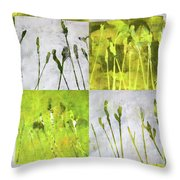 Wild Grass Collage 3 Throw Pillow