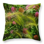 Wild Grasses And Red Clover Throw Pillow