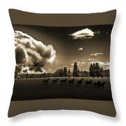 Wild Horse Fire, Sepia Throw Pillow