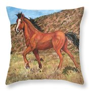 Wild Horse In Virginia City, Nevada Throw Pillow