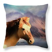 Wild Horse - Painting Throw Pillow