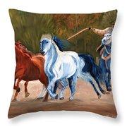 Wild Horse Roundup Throw Pillow