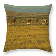 Wild Horses And Antelope-signed-#2216 Throw Pillow