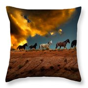 Wild Horses At Sunset Throw Pillow by Harry Spitz