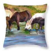 Wild Horses At The Watering Hole Throw Pillow