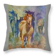 Wild Horses Throw Pillow by Gretchen Bjornson