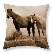Wild Horses In Western Dakota Throw Pillow