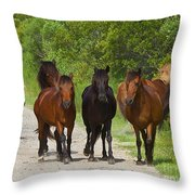 Wild Horses Of Corolla Throw Pillow