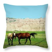 Wild Horses Of South Dakota Throw Pillow