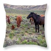Wild Horses Of White Mountain Throw Pillow