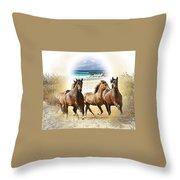 Wild Horses On The Beach Throw Pillow