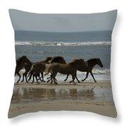 Wild  Horses Run On The Beach Throw Pillow