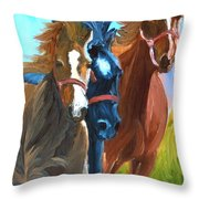 Wild Horses Running  Throw Pillow