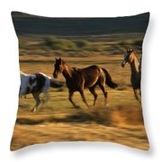 Wild Horses Running Together Throw Pillow
