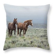 Wild Horses - Steens 1 Rw Throw Pillow