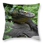 Wild Komodo Dragon Crawling Through Nature Throw Pillow