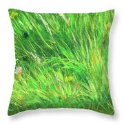 Wild Meadow Grass Structure In Bright Green Tones, Painting Detail. Throw Pillow