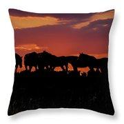 Wild Mustangs At Sunset Throw Pillow
